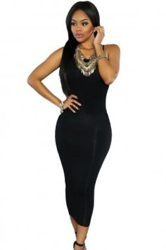 Black Lace-up Back Midi Party Dress