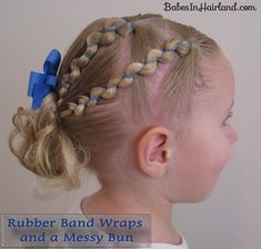Rubber Band Wraps & Messy Bun + Video - Babes In Hairland Pretty Hairstyles, Braided Hairstyles, School Hairstyles, Rubber Band Hairstyles, Anna Hair, Little Girl Hairdos, Diy 2019, Girl Hair Dos, Short Braids