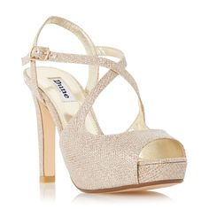 Dune Merry peep toe high heel sandals, Gold