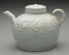 Southern Sung dynasty, Ch'ing-pai ware,Porcelain with molded and applique décor under a light blue glaze, Minneapolis Institute of Arts