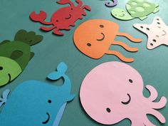 Set of 8 Underwater Sea Animals - Whale, Octopus, Fish, Jellyfish, Seahorse, Crab, Turtle, Starfish