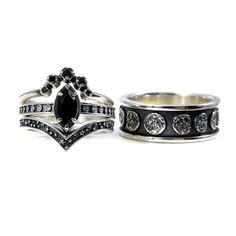 Black Silver Moon Phase Engagement Ring Set His and Hers
