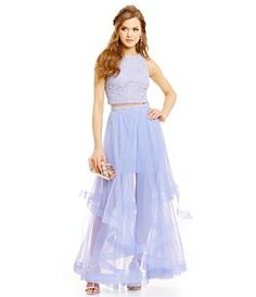 55a64b6926d Jodi Kristopher Lace Top Two-Piece Layered Skirt Gown Woman Dresses