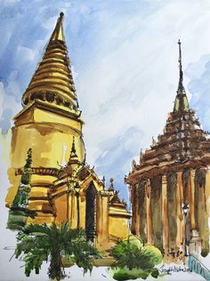 Thailand art, Thailand, Watercolor painting, Bangkok painting, Thai temple, Temple Painting, Wat Pho temple, Watercolors Paintings Original