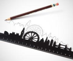 Monkey Business Skyline Ruler / The Skyline Ruler from Monkey Business is a design created by Shelly Freiman. It's a marked ruler with the city skyline above it. http://thegadgetflow.com/portfolio/monkey-business-skyline-ruler/