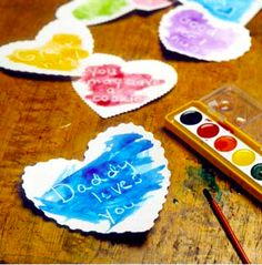 Secret message heartsSecret Messages  Cut hearts from white paper and write love notes on them with a white crayon, then hide your hearts in strategic morning locations. Place a box of watercolors at the breakfast table, and brush paint over the hearts to reveal the messages.