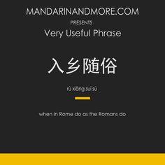 """例如:  1. 入乡随俗,中国人怎么用我就怎么用。  2. 到了中国以后他""""入乡随俗""""地开始用筷子。  #chinese #mandarin #learnchinese #learnmandarin"""