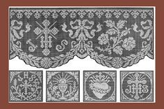 1915 Church Laces in Filet Lace. Enlarged chart patterns from Le Filet Ancien c. Crochet Cross, Filet Crochet, Crochet Lace, Drawn Thread, Thread Work, Lace Patterns, Crochet Patterns, Faith Crafts, Catholic Crafts