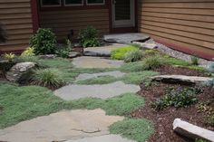 Natural Garden Pathway in Orange County, NY: Natural Stepping Stone Pathway in Warwick, Orange County , NY Natural Landscaping, Landscaping With Rocks, Backyard Landscaping, Backyard Ideas, Garden Ideas, Landscape Photos, Landscape Design, Garden Design, Stepping Stone Pathway