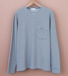 Long Sleeve T-Shirt in a indigo stripe loopback cotton. Color  White    Indigo Cotton Made in Japan size gui 6b671d356452