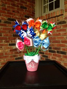 Hair Bow Bouquet Bowquet Baby Shower Gift Holiday by HandyMomma, $32.50