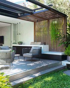 Pergola Alu, Pergola Patio, Rooftop Design, Balcony Design, Modern Architecture House, Architecture Design, Outside Room, House Extension Design, Outdoor Living Rooms