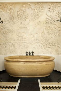 Splendor in the Bath. Bathtub in carved yellow Siena marble, alcove with gilded bas relief plaster decoration. Interior Designer: Armand-Albert Rateau for Jeanne Lanvin's Paris Apartment, c. Beautiful Bathrooms, Modern Bathroom, Small Bathroom, Bathroom Vintage, Masculine Bathroom, Rental Bathroom, Large Bathrooms, Parisian Apartment, Dream Apartment