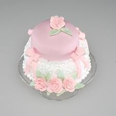 Victorian Hat Cake w/Bow and Roses | Stewart Dollhouse Creations