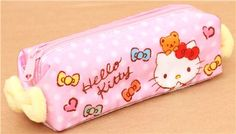 kawaii pink Hello Kitty pencil case with plush bow