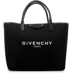 Givenchy Antigona Shopping Bag (£615) ❤ liked on Polyvore featuring bags, handbags, logo bags, givenchy purse, pouch bag, logo shopping bags and cotton handbags