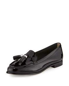 X35MY MICHAEL Michael Kors Callahan Patent Tassel Loafer, Black