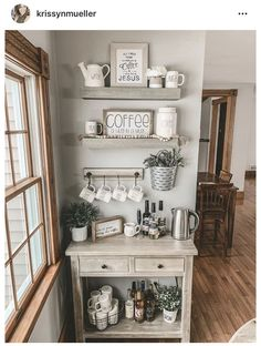 Coffee Bars In Kitchen, Coffee Bar Home, Home Coffee Stations, Coffee Nook, Coffee Corner, Coffee 21, Bunn Coffee, Friday Coffee, Coffee Bar Design