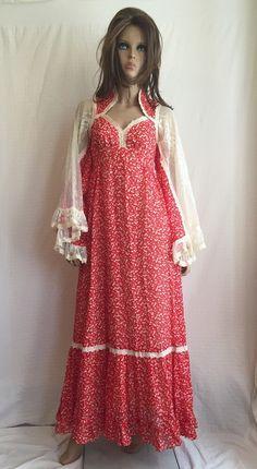 Vintage 70s Gunne Sax Hippie Dress - Retro 1970s Prairie Peasant Prom Dress - Gypsy Boho Bridal Dress - Angel Sleeves Stevie Nicks Dress