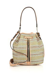 Elizabeth And James Cynnie Mini Woven Raffia & Leather Bucket Bag in Multicolor (MULTI)