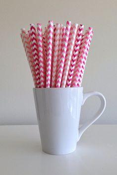 Paper Straws - 25 Dark Pink, Bubblegum Pink, and Blush Pink Chevron Party Straws Birthday Wedding Baby Shower Bridal Shower by PuppyCatCrafts, $3.60