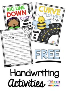 FREE Handwriting Worksheets and Printables - Activities to teach students how to write letters with correct directionality - write the letters of the alphabet - handwriting anchor charts and posters to show how to write capital and lowercase letters Handwriting Practice Free, Free Handwriting Worksheets, Kindergarten Handwriting, Teaching Handwriting, Handwriting Activities, Handwriting Alphabet, Kindergarten Freebies, Kindergarten Writing, Kindergarten Activities