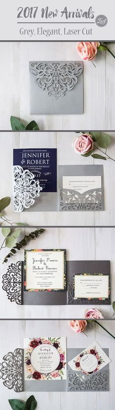 EWI 2017 New Arrivals-grey laser cut wedding invitations