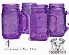 New Purple Glass Mason Jar Mugs | eBay