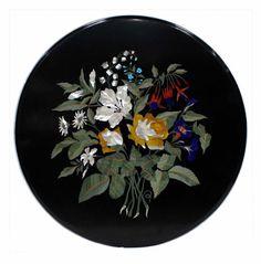 Coffee table Black Marble pietradura Beautiful Florentine style pietredure furniture collectible art
