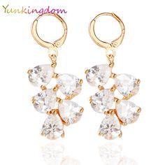 Yunkingdom nhãn hiệu thời trang trắng bông tai zircon tinh thể bowknot phong cách cho phụ nữ mạ vàng nóng bán hàng trang sức