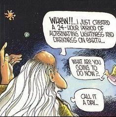 Funny God Creation Day Cartoon