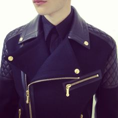 Versace biker jacket Simple Outfits, Hermes Kelly, Versace, Biker, Coats, Couture, Clothing, How To Wear, Jackets