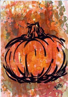 Abstract Pumpkin original ink and watercolor painting