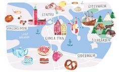Stockholm's watercolor illustrated map for Mr Wonderful Ideas Magazine - Renata Ortega