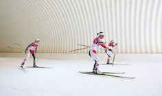 Kristin Stoermer Steira of Norway, Marit Bjoergen of Norway and Therese Johaug of Norway compete during the Women's 30 km Mass Start Free (c) Getty Images