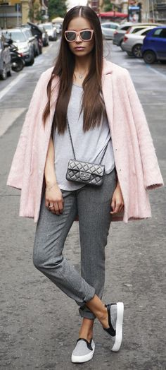 Grey And Pink Winter Outfit