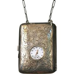Sterling Silver Dance Purse Necessaire  Watch Coin Compact Bag