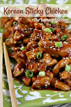 # Chicken # Sticky # Korean Korean Sticky Chicken This .- Korean Sticky Chicken This simple recipe is a tasty mix of sweet and spicy and is ready in less than 30 minutes. Serve it over rice or glass noodles or in bibimbap bowls with vegetables. Crockpot Recipes, Cooking Recipes, Easy Asian Recipes, Korean Food Recipes, Wok Recipes, Ramen Noodle Recipes, Skillet Recipes, Cooking Gadgets, Sticky Chicken