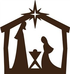 Easy Nativity Silhouette for Children; Joseph, Mary and Baby Jesus for Papercraft/Window/Template /Stencil /Mural.