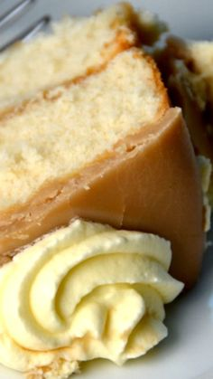 Caramel Cake Recipe ~ starts with a boxed mix that gets doctored up to taste like a homemade vanilla cake. It's very light textured, which is perfect since it is cloaked in an incredibly rich and sweet caramel icing that hardens up into a delectable shell.