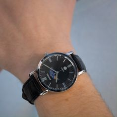 Classy and affordable mens watch in black, handmade in Switzerland by Jowissa. The black sunray dial and black crocodile leather strap gives this watch for men a sleek, simple look that goes with any outfit. Best Watches For Men, Vintage Watches For Men, Luxury Watches For Men, Cool Watches, Black Watches, Male Watches, Affordable Watches, Expensive Watches, Gents Watches