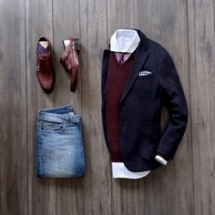 @runnineverlong - with a business casual combo with light wash denim maroon double monk shoes navy maroon cream argyle socks maroon v-neck sweater light blue button up shirt maroon polka dot silk tie navy blazer navy gingham pocket square  #fallfashion  #falloutfits #menswear #menstyle #mensapparel #flatlay #businesscasual #mensfashion #runnineverlong #sweater #doublemonks #uniqlo #mensoutfits #menfashion