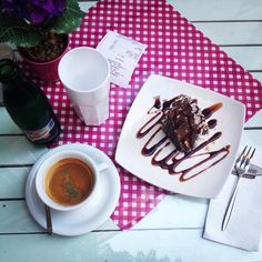 Yummy nut cake and espresso in the afternoon!!