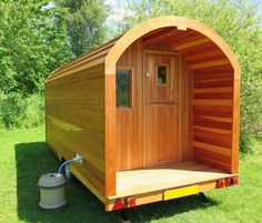 This beautiful sequoia pod-on-wheels is looking for a good home Tiny House Living, Home And Living, Living Room, Prefab Homes, Tiny Homes, Tent Design, House Design, Tiny Trailers, Paper Wall Art