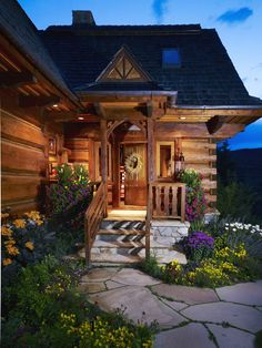 log home entry way
