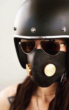 Hedon helmet and mask Motorbike Girl, Motorcycle Style, Motorcycle Outfit, Biker Style, Motorcycle Helmets, Retro Helmet, Vintage Helmet, Cafe Racer Helmet, Cafe Racer Girl