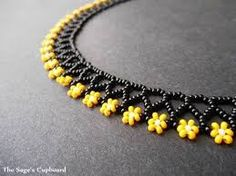 Sage's Cupboard Handmade Egyptian Jewelry and Tribal Beadwork - Bumblebee Floral Mini Collar. Black and Yellow Handmade Beaded Daisy N -The Sage's Cupboard Handmade Egyptian Jewelry and Tribal Beadwork - Bumblebee Floral Mini Collar. Black and Yellow H. Seed Bead Necklace, Seed Bead Bracelets, Seed Bead Jewelry, Bead Jewellery, Bead Earrings, Beading Jewelry, Daisy Necklace, Floral Necklace, Black Necklace