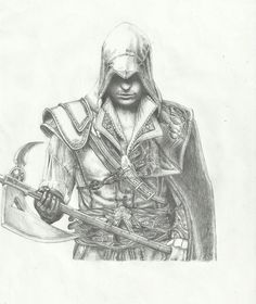 Ezio Auditore da Firenze from Assassin's Creed II, gift for my friend Drawing from 2012, really old. Pencil only. (I love him! )