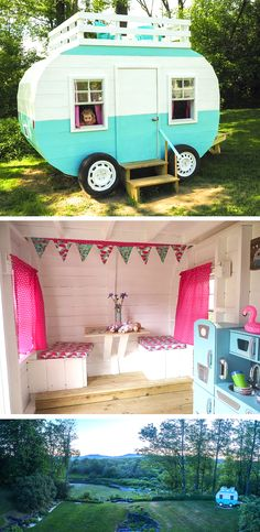 Plans of Woodworking Diy Projects - Cute retro camper playhouse plan. Decorated with curtains, cushions and a kitchen set. Get A Lifetime Of Project Ideas & Inspiration! Girls Playhouse, Build A Playhouse, Playhouse Outdoor, Playhouse Decor, Outdoor Playset, Playhouse Ideas, Retro Campers, Happy Campers, Cubby Houses