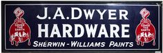 Sherwin-Williams sign for J.A. Dwyer Hardware.